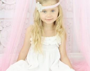Rhinestone headband, Wedding headband, Flower girl headband