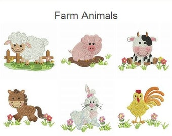 Farm Animals Baby Quilt Machine Embroidery Designs Pack Instant Download 4x4 hoop 10 designs APE1892