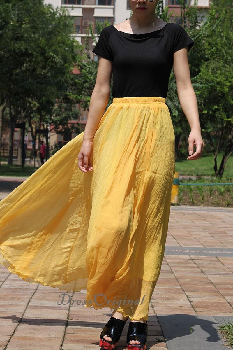 yellow chiffon skirt maxi skirt skirt maxi by