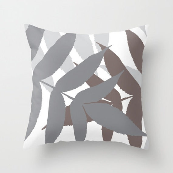 Modern Botanical Pillow : Modern Botanical Leaf Pillow Cover Grey Taupe Modern Home