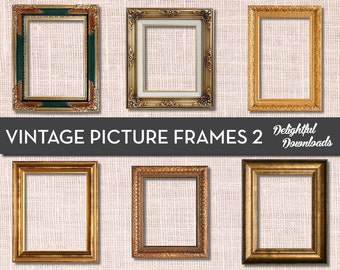 Antique Vintage Picture Frame Clip Art - VOL 2 - for Digital Collage, Scrapbooking, Cards, Prints