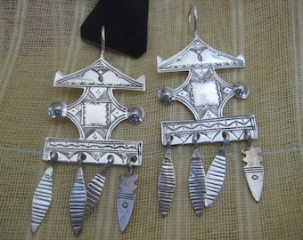 Sterling Silver West African Tuareg Long Huge Khomeisa Earrings