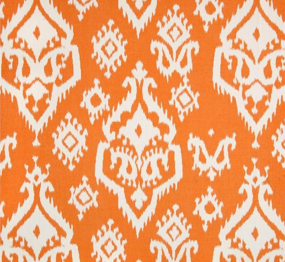 Tangerine Orange Ikat Fabric By The Yard Designer Home Decor
