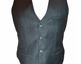 Lightweight wool waistcoat with polyester back