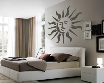 Sun reusable STENCIL for home wall interior decor