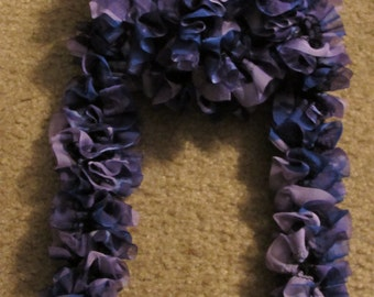 Ruffled Knit Fabric Scarf Shades of Purple Violet Lavender