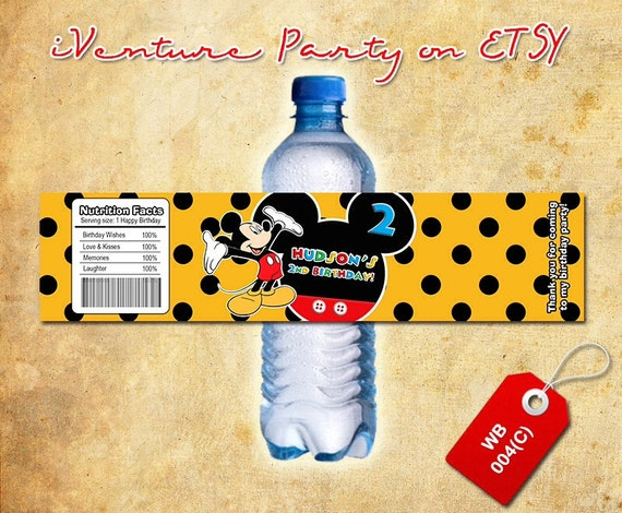 Mickey water bottle label for Mickey Mouse birthday - DIGITAL printable Mickey bottle wrap for Mickey birthday (choose 1 design)