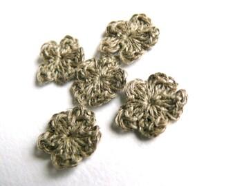 Crochet flower, crochet  applique,set of 15,mini flowers embellishments,cotton applique,linen flower,Shabby chic,Scrapbooking,ornament,cards