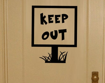 out door vinyl decal keep out laptop sticker keep out bedroom sign