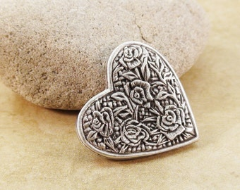 Heart Metal Buttons  1 inch 25mm Antique Silver Qty 3