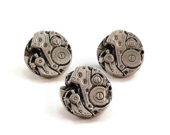 Steampunk Gear Buttons Metal Shank 15mm Antique Silver Qty 3