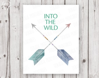 Into the wild arrows home decor printable art instant download