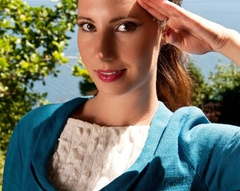 CLEARANCE SALE Vintage Dress - Blue Vintage Dress - 60s Vintage Dress - Pinup Dress - Pin Up Wiggle Dress - Stewardess Dress Womens S