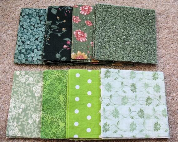 Quilt Patterns 4 Different Fabrics : 4 Precut Quilt Squares Fabric 8 Different Green Patterns