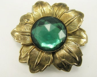 Vintage Molded Plastic Pin. Emerald Green Lucite Flower Brooch