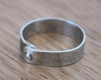 10) 5mm Polished, Textured Sterling Silver Rivet Ring