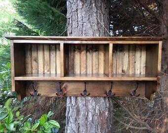 Rustic Decor Coat Rack With Cubby Shelf