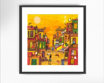 VALPARAÍSO, Chile print from of my original paintings / art print illustration nursery collage texture wall decor home decor poster (15)