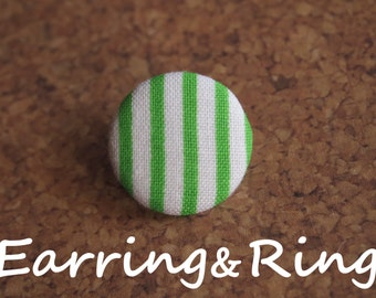 Green and white striped fabric covered button earrings, fabric covered button clip on earrings, fabric covered button ring