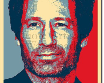 David Duchovny Original Art Print - 12x8 Inch Photo Poster Gift - Barack Obama Hope Parody - Hank Moody Californication