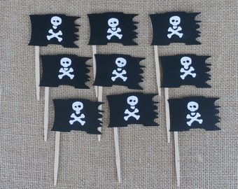 Pirate Cupcake Toppers Party Picks Skulls 12 Counts Cross and Bones Flag Halloween Birthday