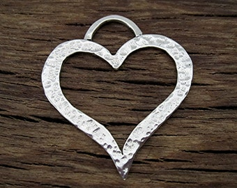 Large Open Hammered Artisan Heart Pendant and Charm in Sterling Silver (one)