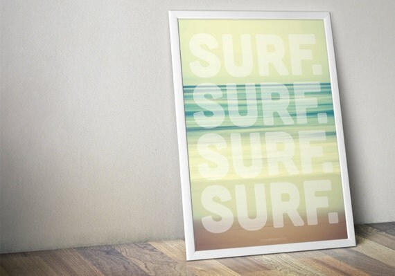 Surf Beach Bathroom Decor : Surf vintage large poster green blue by nboutfitters