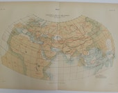 Antique book plate Ptolemy's Map of the world 1800's
