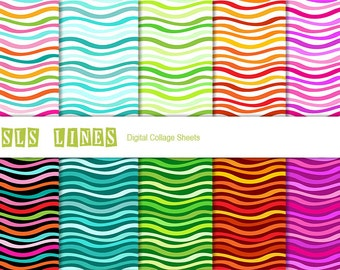 Digital Scrapbook Paper Pack, Digital Collage Sheet, Colorful Waves, Wavy Stripes