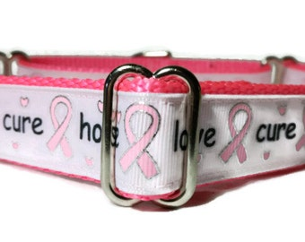 "Hope*Love*Cure* Breast Cancer Nylon Dog Collar | 1"" Width Only 