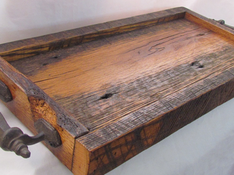 Reclaimed Wood Serving Tray Barn wood tray