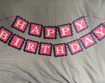 Handmade Girls Happy Birthday Banner. Glitter letters. Very Cute! Free Shipping!!