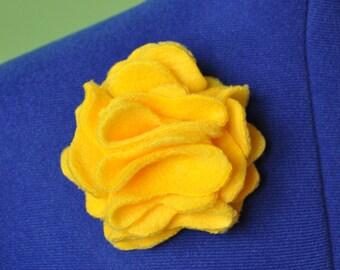 Yellow Fleece Flower Barrette