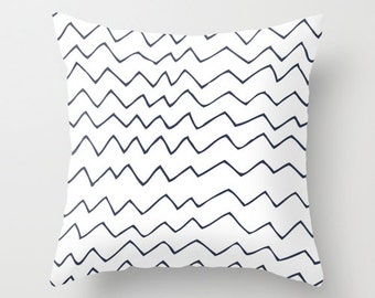 Nautical Navy Chevron Pillow Cover, hand drawn illustration pillow, navy blue home decor, zigzag contemporary cushion, c pillow
