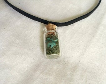 Moss and Turquoise Filled Wish Bottle Choker