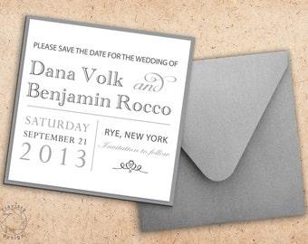 Square Save the Date   Wedding Invitation Card and Envelope - Custom Design
