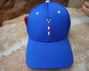 Men's Stretch Fit Golf Hat Royal Blue with Embroidered USA Flag Tee Design | Great Golf Gift Idea