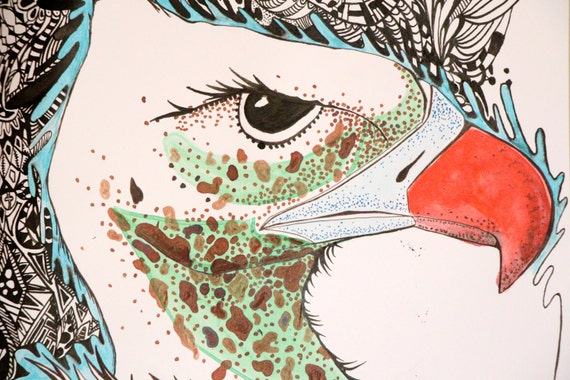 Drawing Red Lines With Green Ink : Original bird ink drawing black green red fantasy