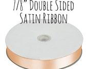"""Peach Ribbon, Satin Ribbon, 7/8"""" Ribbon, Grosgrain Ribbon, Gift Ribbon, Decoration, Gift Wrapping, Wedding Supplies, Hair"""