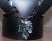 Amethyst w- Silver Plated Leaf, Women's Mothers Day Gifts, Necklace and Earrings Jewelry Set Available
