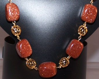 Goldstone Necklace, Women's Mothers Day Gifts, Jewelry Set Available with Earrings