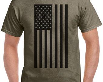 USA Flag T-Shirt - A classic flag shirt in military style black.