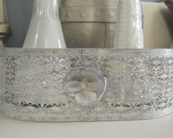 Shabby Chic Hand Painted Distressed Basket
