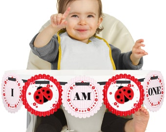 Ladybug Red High Chair Banner - First Birthday Party Decorations