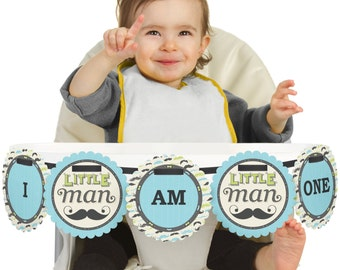 Dashing Little Man Mustache Party - 1st Birthday - I Am One - First Birthday High Chair Banner - First Birthday Party Decorations
