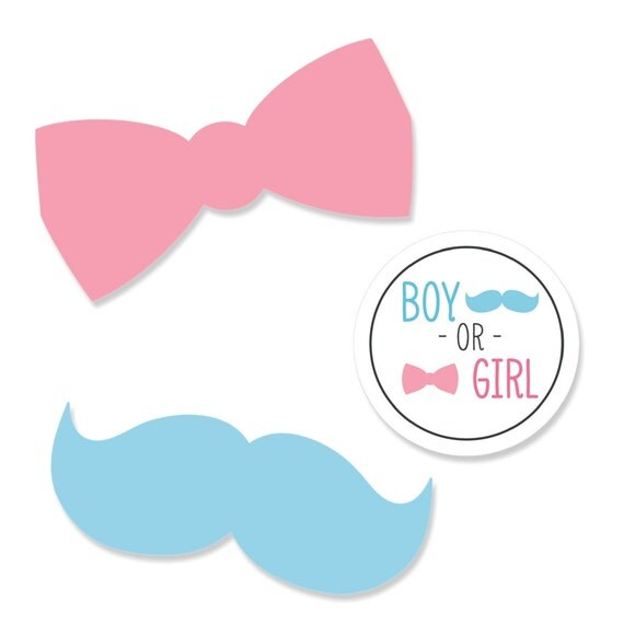 24 pc. Small Gender Reveal Bow and Mustache Shaped Paper Cut
