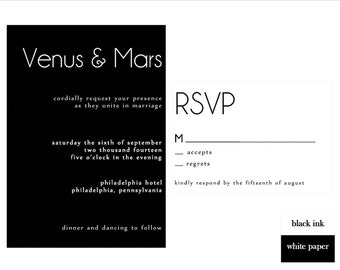 Black and White Wedding Invitation Set, DIY Wedding Invitation, Printable Invitation Set, Black and White, Modern Wedding Design