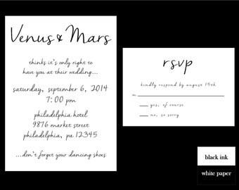 Black and White Wedding Invitation Set, DIY Printable Invitation Set, Cursive Script Wedding Invitation, Simple Wedding Invitation,