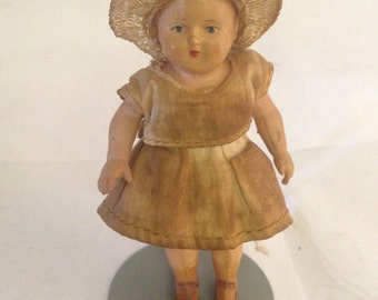 "German Bisque Doll  Antique GERMAN Solid  Bisque Doll  'Little Ragamuffin"" 1920's 1930's era."