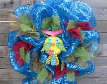 "24"" Spring Owl Wreath- Owl Deco Mesh Wreath- Owl Burlap Wreath- Tin Owl Wreath- Summer Owl Wreath- Owl Wreath- Summer Deco Mesh Owl Wreath"